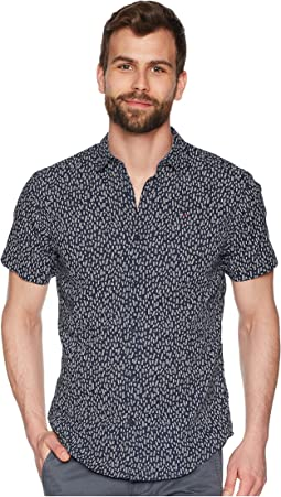 Micro Print Short Sleeve Button Down Shirt