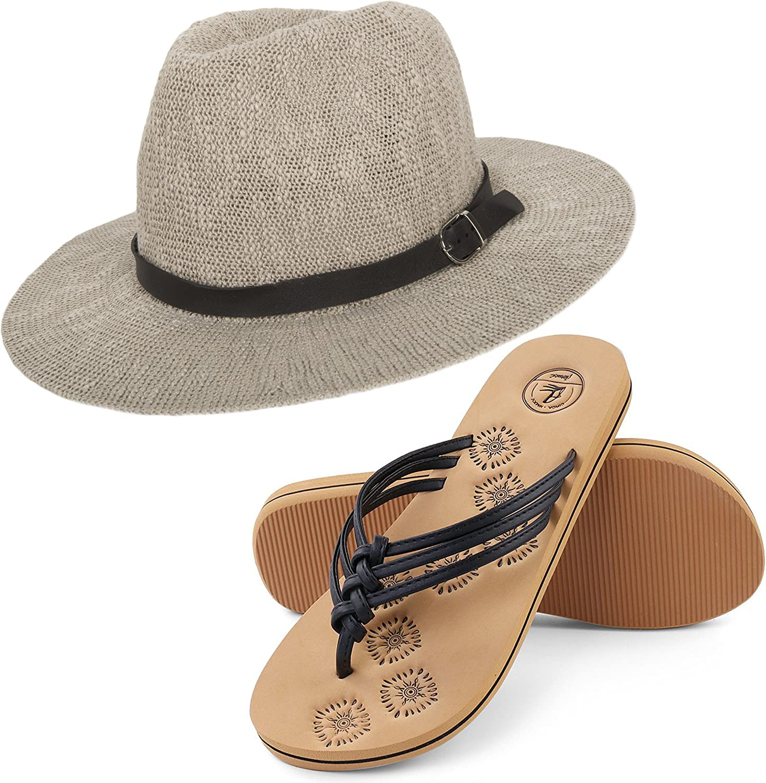 Aerusi Women's Coral Jones Floppy Straw Hat and Foam Sandals Bundle Set Flip-Flop