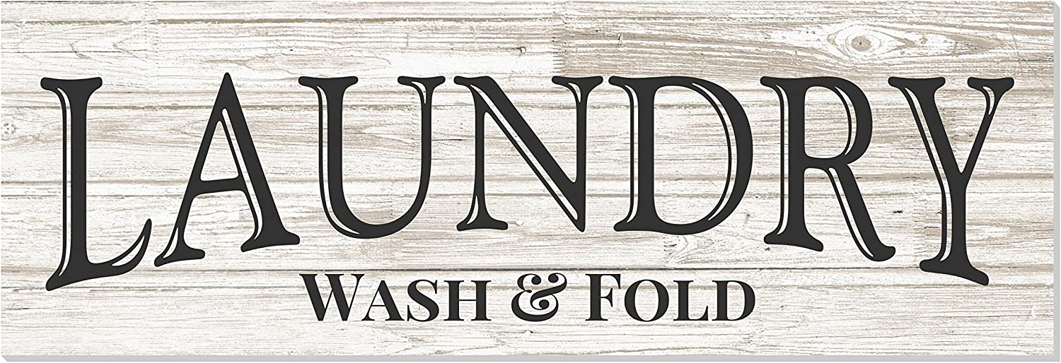 Discount mail order Laundry Wash Fold OFFicial shop Rustic Wood Wall 6x18 Sign White