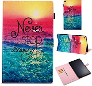 All-New Fire HD 10 2017 Case, GNT [Stand Feature] PU Leather Magnetic Stand Folio Wallet Case with [Cards Slots] for All-New Amazon Fire HD 10 Tablet (7th Generation,2017 Release)-Never Stop Dreaming