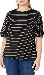 City Chic Women's Apparel Women's Plus Size Striped Tshirt with Ruffled Trim Sleeves, Fine