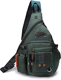 DDDH Large Sling Bags Crossbody Backpack 14.1-Inch Chest Daypack Travel Bag Book Bag for Men&Women((Green)