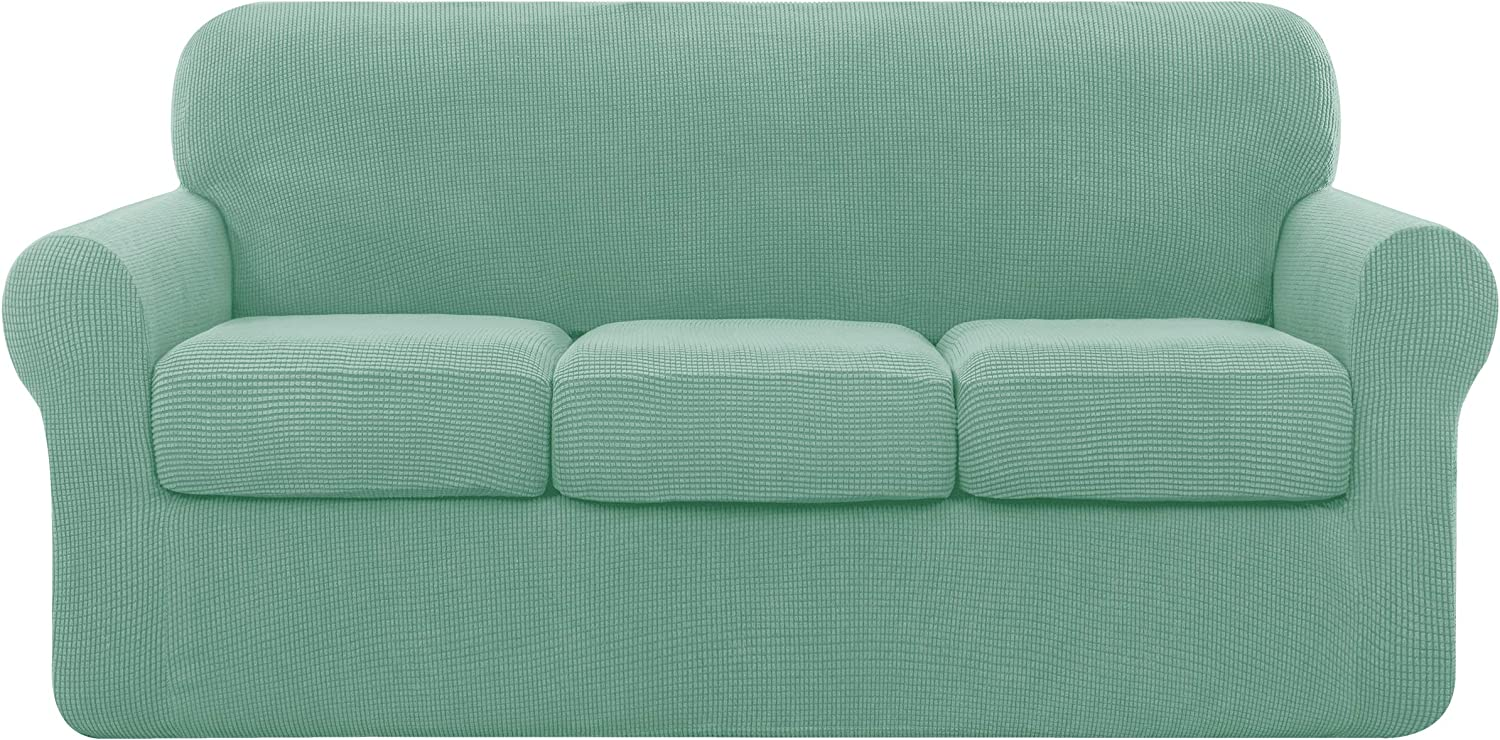 subrtex Sofa Cover High Stretch Couch Slipcover with Separate Cushion Couch Cover Soft Loveseat Slipcover Furniture Protector Machine Washable(Large, Dark Cyan)