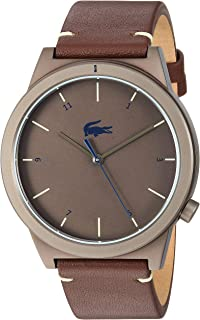 Lacoste Men's Motion Stainless Steel Quartz Watch with Leather Calfskin Strap, Brown, 20 (Model: 2010992)