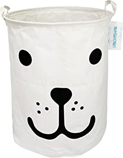 LANGYASHAN Storage Bin,Canvas Fabric Collapsible Organizer Basket for Laundry Hamper,Toy Bins,Gift Baskets, Bedroom, Clothes,Baby Nursery (Smile Dog)