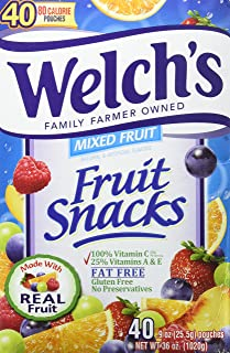 Welch's Fruit Snacks, Mixed Fruit, Gluten Free, Bulk Pack, 40 count, pack of 6