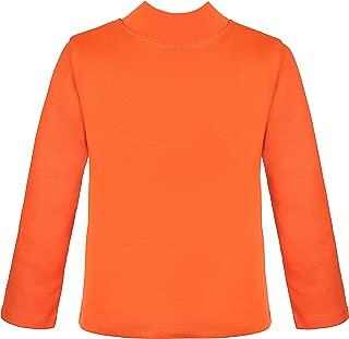 Girls' Basic Long Sleeve Mock Turtleneck Cotton T-Shirt