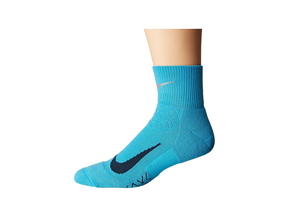 Nike Elite Cushion Quarter Running Socks (Chlorine Blue/Armory Navy) Quarter Length Socks Shoes