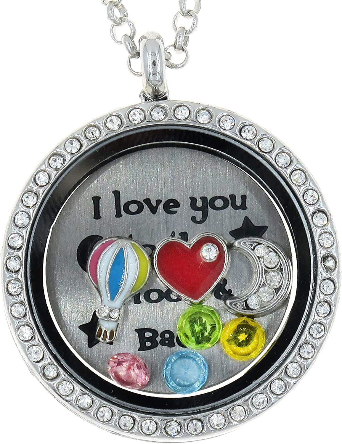 Best Wing Jewelry I Love You to The Moon and Back Floating Charm White Rhinestone Glass Locket Necklace