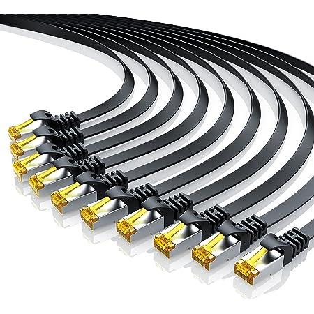 10 X 0 5m Cat 7 Netzwerkkabel Flach Ethernet Kabel Gigabit Lan 10 Gbit S Patchkabel Flachbandkabel Verlegekabel Cat 7 Rohkabel U Ftp Pimf Schirmung Mit Rj 45 Stecker Switch Router Modem Elektronik