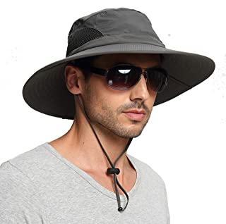 Sun Hat for Men/Women, Summer Outdoor Sun Protection Wide Brim Bucket Hat Waterproof Breathable Packable Boonie Hat for Safari Fishing Hiking Beach Golf