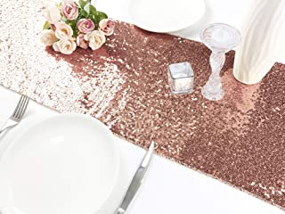Rutien Sequin Table Runner Rose Gold 12x108 inch Sparkly for Wedding/Birthday/Home Event Party