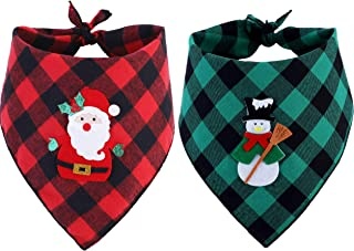 BoomBone 2 Pack Christmas Dog Plaid Bandana Pet Dog Puppy Holiday Scarf