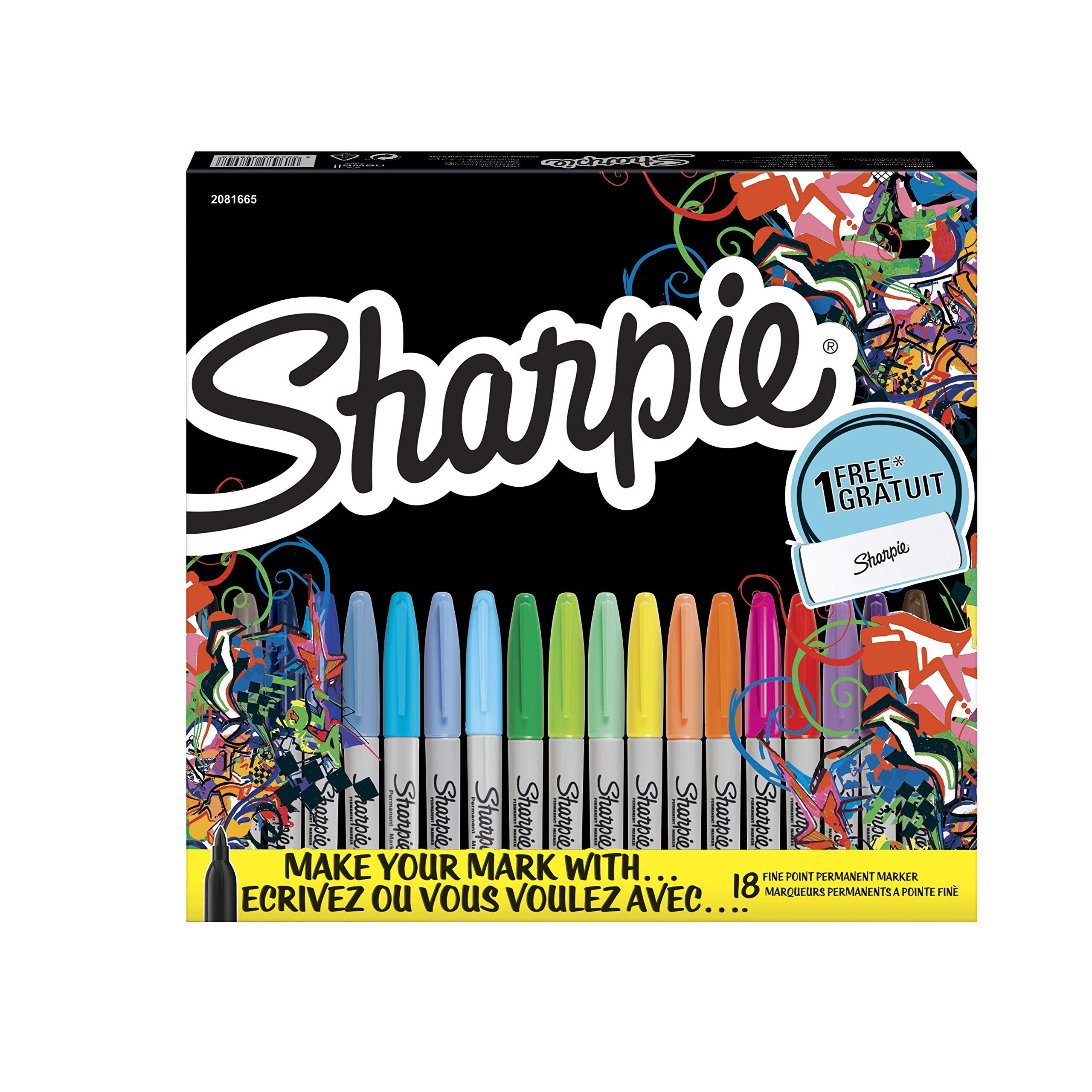 Sharpie Marker - Rotuladores de punta redonda F gratis, estuche de 18 unidades: Amazon.es: Oficina y papelería