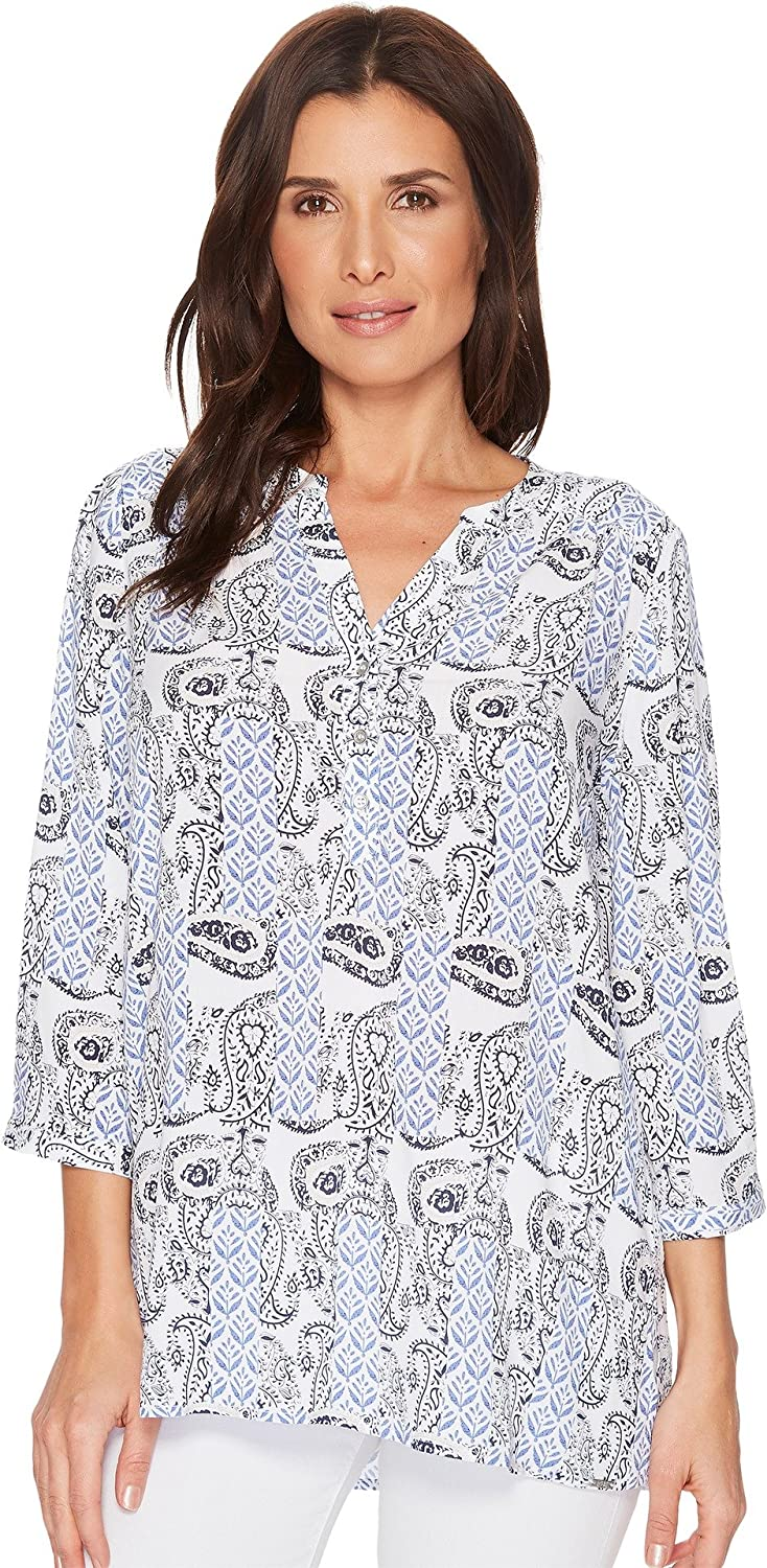 FDJ French Dressing Jeans Womens Paisley Print Tab Up Sleeve Popover Top