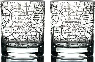 Greenline Goods Whiskey Glasses - 10 Oz Tumbler Gift Set for Nashville lovers, Etched with Nashville Map | Old Fashioned Rocks Glass - Set of 2