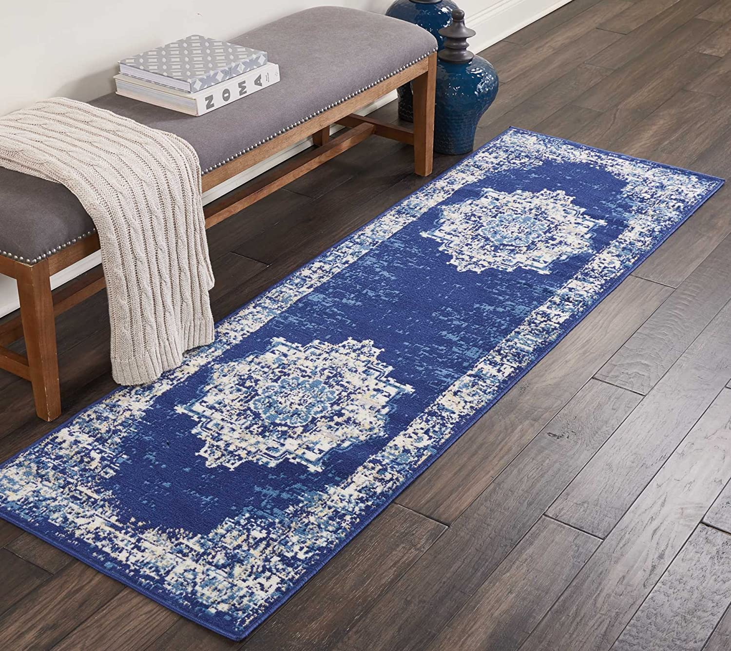 Nourison  Grafix Traditional Distressed Navy bluee Area Rug Runner 2'3  x 7'6