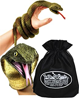 Schylling Stretchy Snakes Stretchy Cobra Hand Puppet & Wrist Rattlers Gift Set Bundle with Matty's Toy Stop Storage Bag - ...