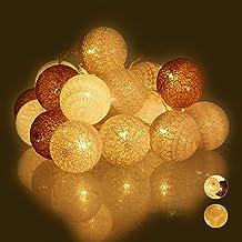 Relaxdays, Wit/grijs/bruin led-lichtsnoer met 20 katoenen bollen, werkt op batterijen, sfeerverlichting, ballen 6 cm Ø, st...