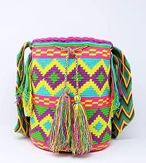 Wayuu Shoulder bag Multicolor with Poms Cotton Handmade Fair Trade (Mochila Wayuu from Colombia)