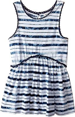 Indigo Striped Tie-Dye Swing Top (Little Kids)