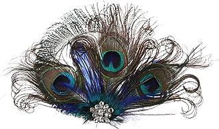 ArtiDeco 1920 Diadema de Pluma de Pavo Real Peinado con