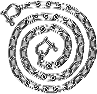 HarborCraft 6 Foot Stainless Steel 316 Anchor Chain 5/16