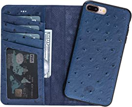 Burkley Case Detachable Leather Wallet Case for Apple iPhone 8 Plus / 7 Plus with Magnetic Closure and Snap-on | Book Style Cover with Card Holders and Kickstand in a Gift Box | (Ostrich Blue)