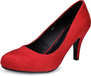 IDIFU Women's RO4 Classic Closed Round Toe Dress Pump High Heel Slip on Party Wedding Shoes