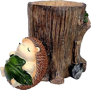 M2cbridge Resin Animal Pencil Holder Hedgehog Desk Organizer Decoration Succulent Pot Green Leaf