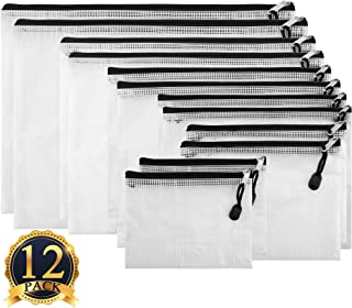 SUBANG 12 Pieces Black Zipper Pouch Zipper File Bags Mesh File Folders with Grid Travel Pouch, 6 Sizes