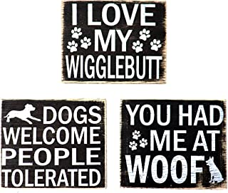 JennyGems - Wood Rustic Dog Wigglebutts Refrigerator Magnet - Set of 3 - I Love My Wigglebutt, You Had Me at Woof, Dogs Welcome People Tolerated, Shabby Chic, Made in USA