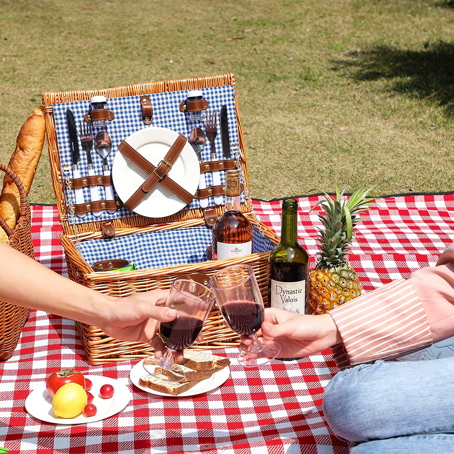 YMhoart Picnic Basket Max Same day shipping 48% OFF for 4 Picniking Willow Woven Empty Wicker