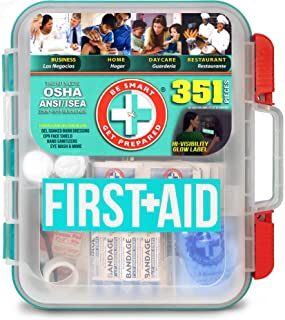 Be Smart Get Prepared The Original 351Piece First Aid Kit - Exceeds OSHA Ansi/Isea 2015 Standards for 100 People - Workplace, Home, Car, School, Emergency, Survival, Camping, Hunting, Sports