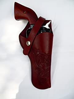 Western Gun Holster #61 - Burgundy - Solid Leather with Embossed Design - for Revolvers up to 5