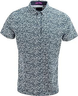 Navy Smart Small Flower Print Luxury Cotton Casual Polo T-Shirt SJ4737