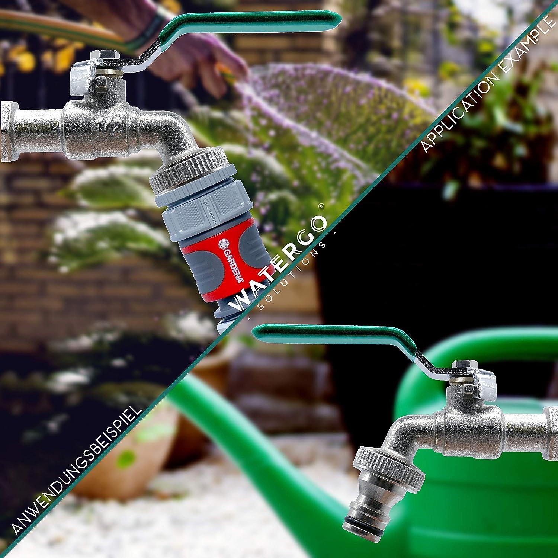 Para Uso en el Jard/ín o en el Hogar verde Lavadora Grifo de Salida Manguera Barril de lluvia GRATIS Conexi/ón de Manguera y E-Book Watergo Premium Grifo de Jardin Lat/ón de 1//2 Pulgadas