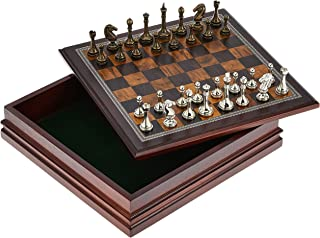 """Classic Game Collection Metal Chess Set with Deluxe Wood Board and Storage - 2.5"""" King, Gold/Silver/Brown (985)"""