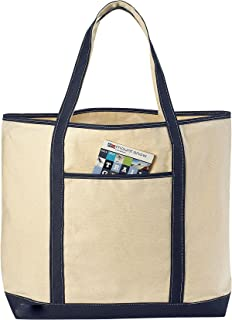 Canvas Tote Beach Bag - These Large Bags Are Strong Enough to Carry Beach Gear and Wet Towels. Front Pocket, Inside Zippered Pocket and Shoulder Straps for Easy Carrying. (Navy Blue | 22 x 16 Inches)