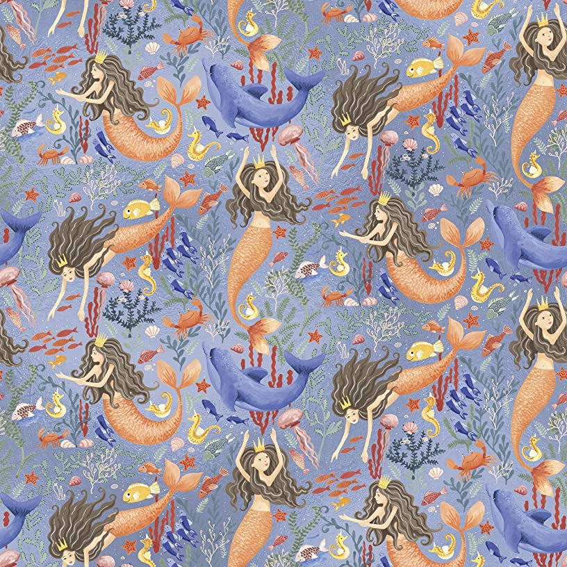Jillson Roberts 6 Roll-Count Premium Gift Wrap Available in 16 Designs, Mermaids
