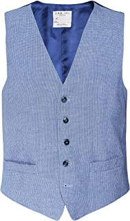 Scotch Painter's Tape LBM 1911 Men's Linen Blend Micro Houndstooth Waistcoat Blue