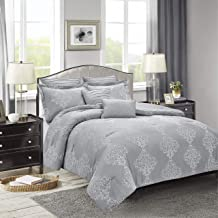 Sweet Home Collection Comforter Set 7 Piece Embroidered Decorative Printed Luxurious Bedding with Pleated Shams, Quilted P...