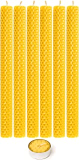 Beeswax Taper Candles 100% Natural Honey Comb Hand Rolled Dripless Eco-Friendly Smoke and Soot Free Tea Candle Gift Box fo...