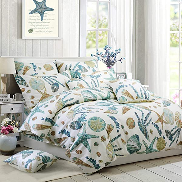 FADFAY Duvet Cover Set Queen Beach Themed Bedding Sets 100 Cotton Super Soft Coastal Bedding White Teal Seashells And Starfish Nautical Bedding With Hidden Zipper Closure 3 Pieces Queen Size