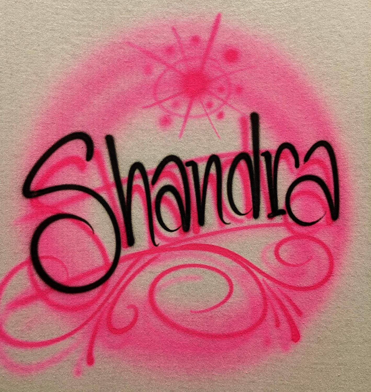 Airbrush Pink Swirls Name Shirt Branded goods T Sales for sale Design