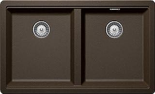 Schock großzügige Küchenspüle 75 x 45,5 cm Greenwich N-200 Bronze - CRISTADUR braune Granitspüle mit 2 Becken ohne Abtropffläche ab 80 cm Unterschrank-Breite