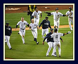 Derek Jeter Final Game Winning Hit Celebration At Yankee Stadium 11x14 Double Matted 8x10 Photo Last Hit At Bat