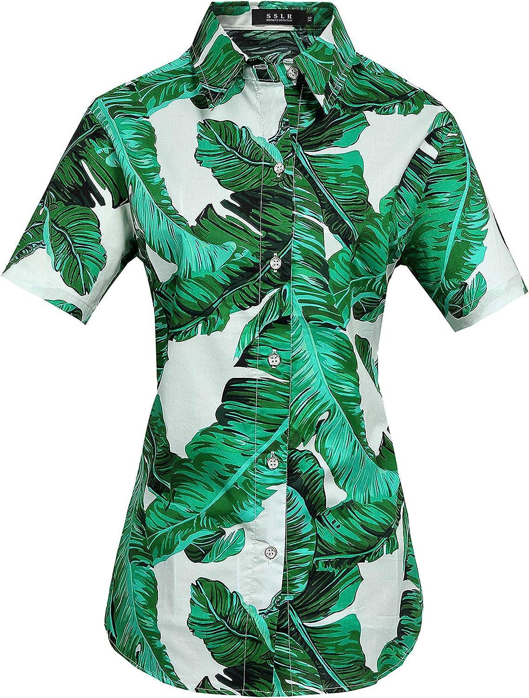 SSLR Womens Hawaiian Shirts Short Sleeve Blouses Casual Button Down Shirts for Women