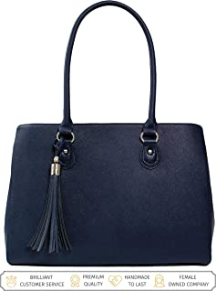 BfB Laptop Tote Bag For Women - Luxury Designer Computer Bag - Handmade Vegan Leather Laptop Shoulder Bag Multi-Pocket 13 Inch Computer Purse Laptop Handbag Carry on Bag - Travel Bags Women - NAVY