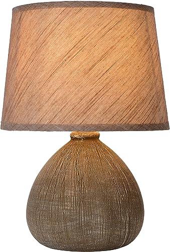 Lucide 47506/81/43 Ramzi Lampe de Table, Céramique, E14, 40 W, Brun, 18 x 18 x 26 cm